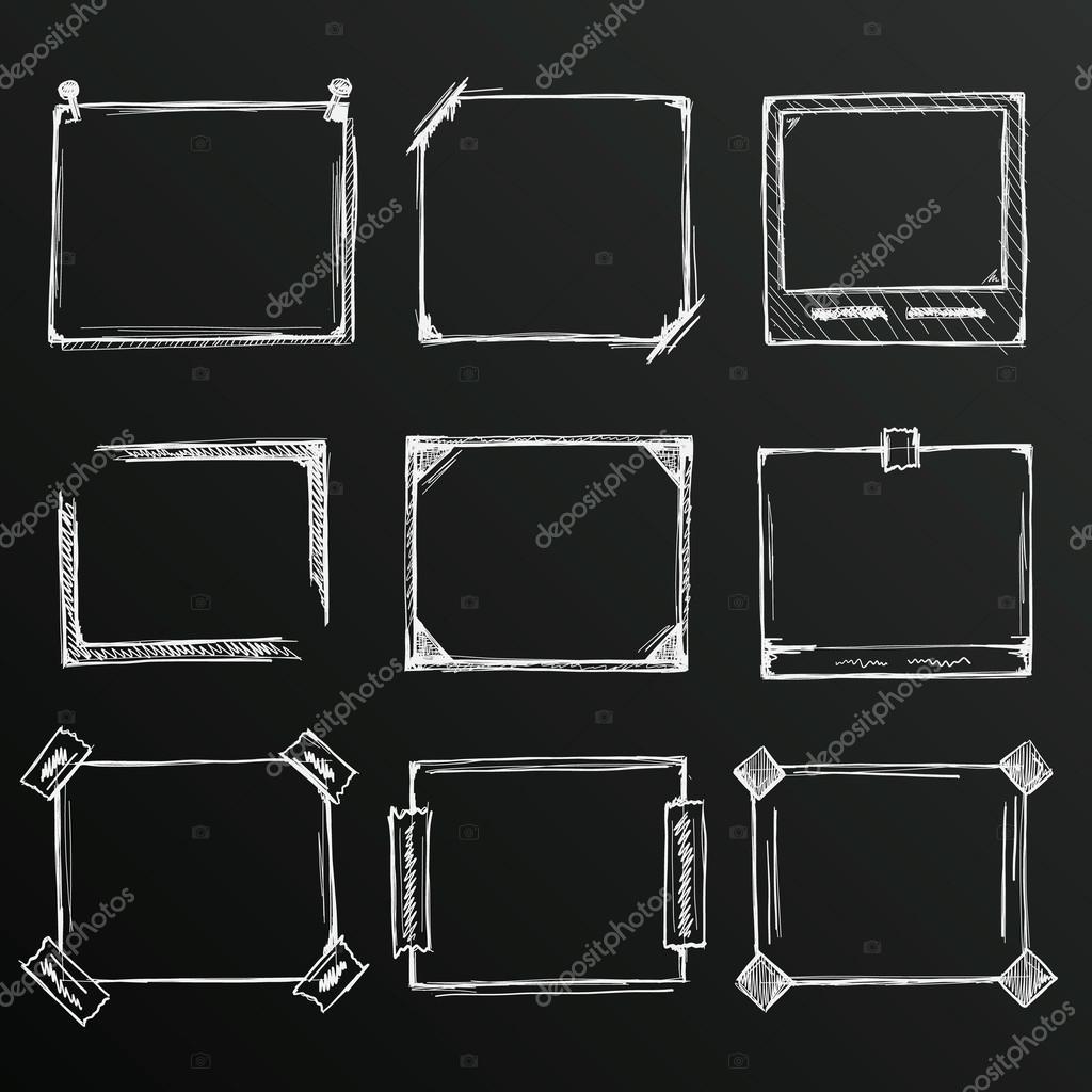 Chalkboard Sketch Of Hand Drawn Frame Set Template Design Element Vector By Hobbit Art