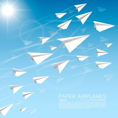 Flying paper airplanes art banner. Vector illustration stock vector