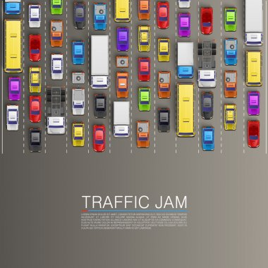 raffic jam on the road