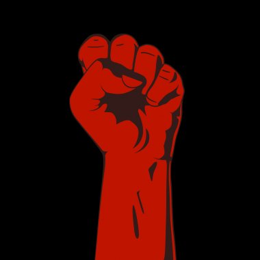 Clenched fist. Red and black