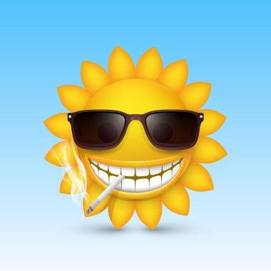 Smiley sun glasses smoke. Vector