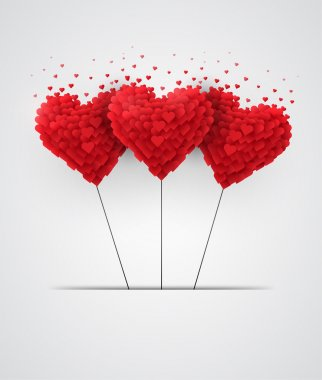 Valentines day heart balloons on white background clip art vector