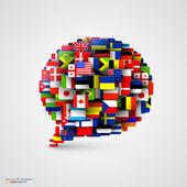 Vlajky světa ve formě řeči bubliny