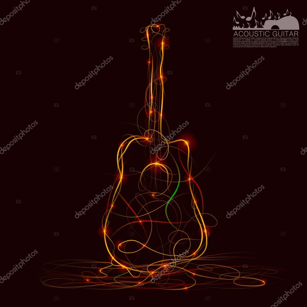 Silhouette of guitar fire
