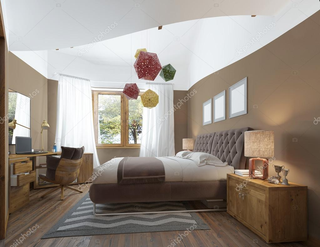 contemporary bedside furniture. Modern Bedroom In The Style Of Contemporary Bedside Tables \u2014 Stock Photo Furniture H