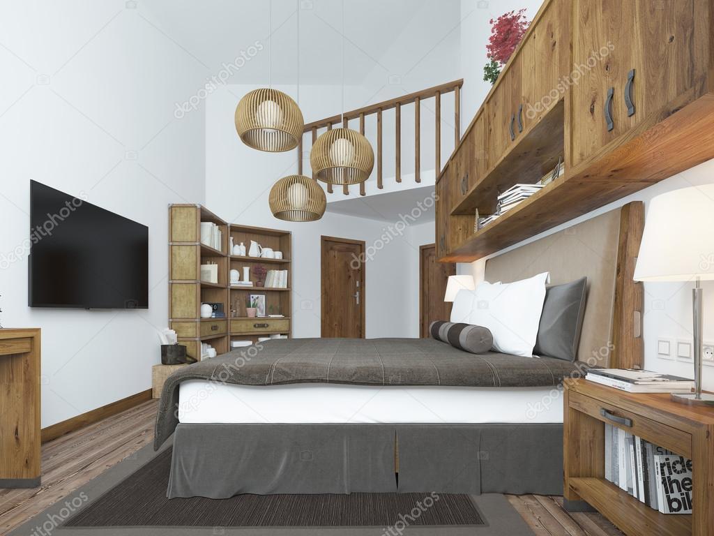 Großes Schlafzimmer Im Modernen Stil Mit Elementen Eines Rustikalen Loft U2014  Stockfoto