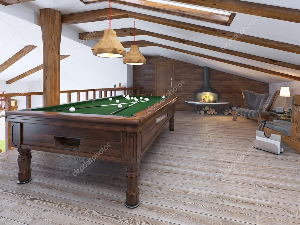 Billiard room with two comfortable chairs and a fireplace in the loft style. Billiard room on the second level living area with a handrail in a rustic ... & Billiard room with two comfortable chairs and a fireplace u2014 Stock ...
