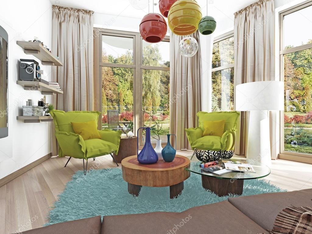 Moderne woonkamer met een zitje met twee stoelen u2014 stockfoto