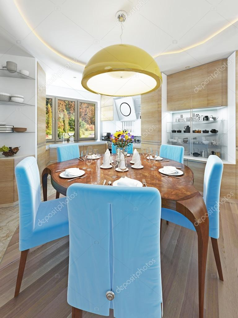 Modern dining room with kitchen in a trendy style kitsch. — Stock ...