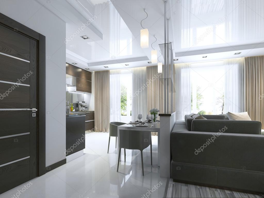 Dining In A Studio Apartment With A Dining Table And Chairs For Three  People. Dining Table Served In A Contemporary Style. 3D Render. U2014 Photo By  Kuprin33