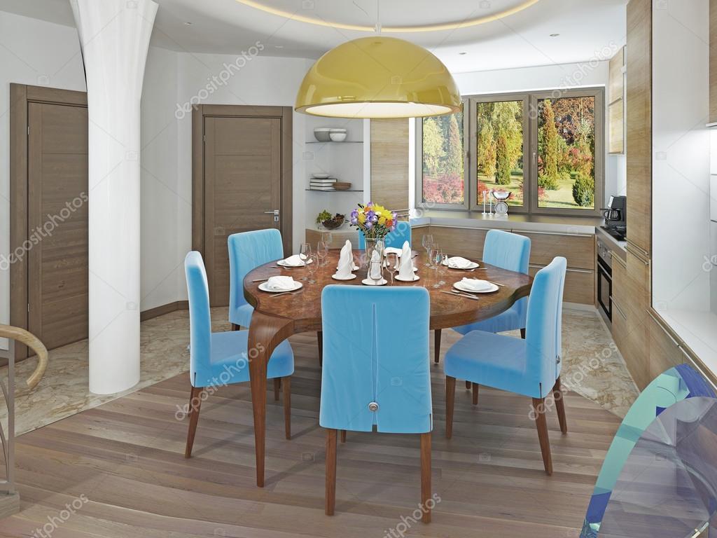 Moderne Esszimmer Kronleuchter ~ Moderne esszimmer mit küche in einer trendigen stil kitsch