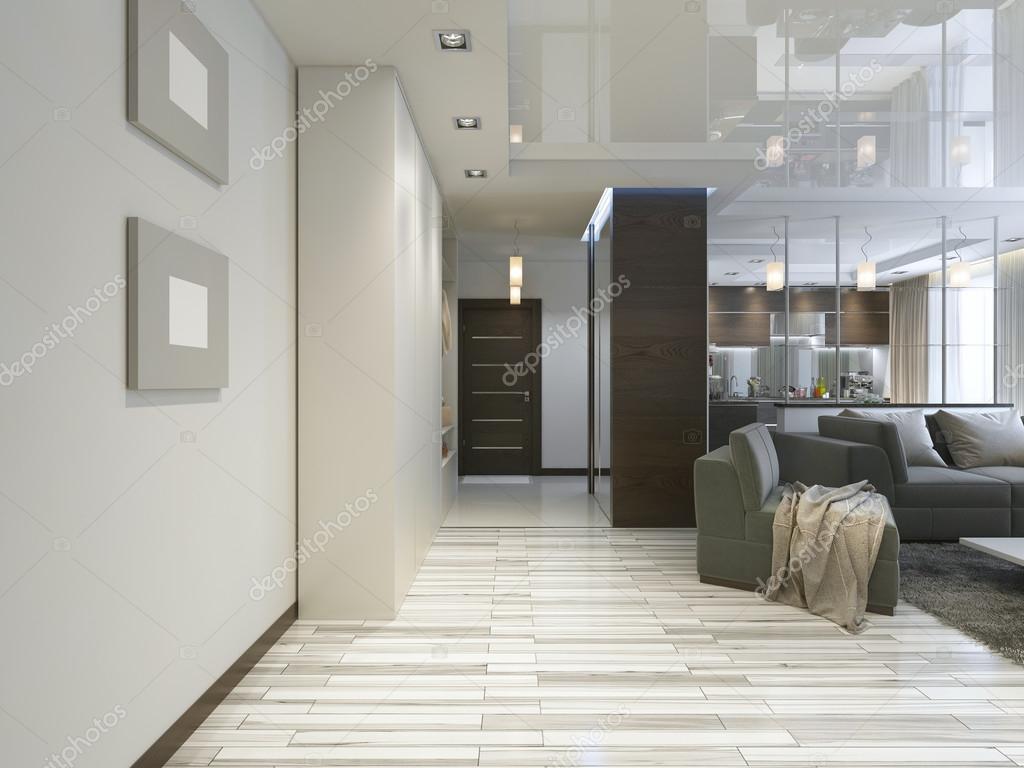 Hall met een corridor in hedendaagse stijl met een kledingkast en