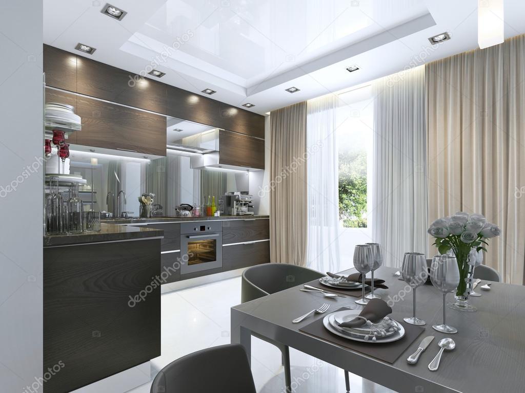 Cocina contemporánea en color marrón, con paredes blancas y pisos de ...
