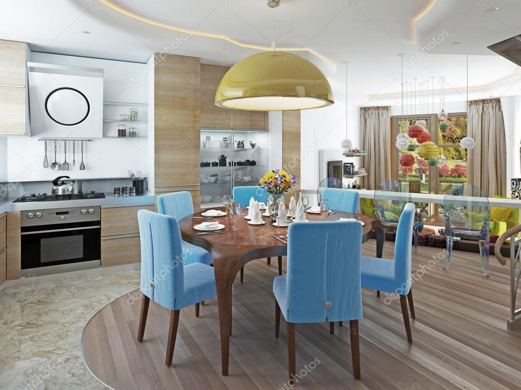 Moderne eetkamer met keuken in een trendy stijl kitsch u stockfoto