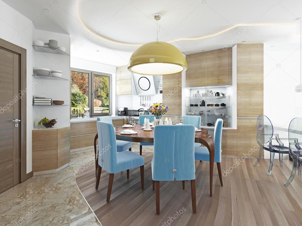 Moderna Sala De Jantar Com Cozinha Em Uma Brega Na Moda Estilo