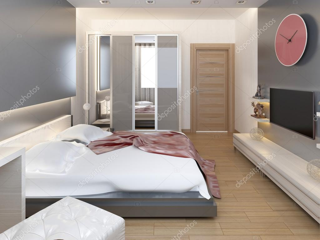Slaapkamer in oosterse stijl licht met rode en gele bloemen ...