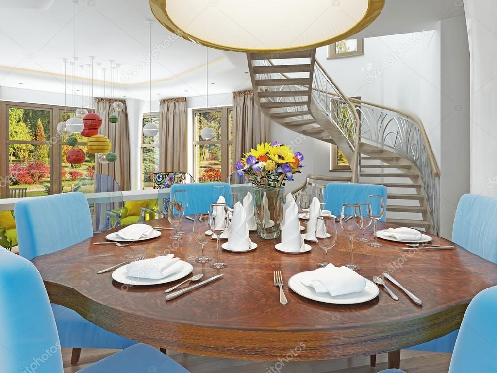 Moderna sala da pranzo con cucina in un kitsch stile trendy foto stock kuprin33 107622586 - Lampadario sala da pranzo moderna ...