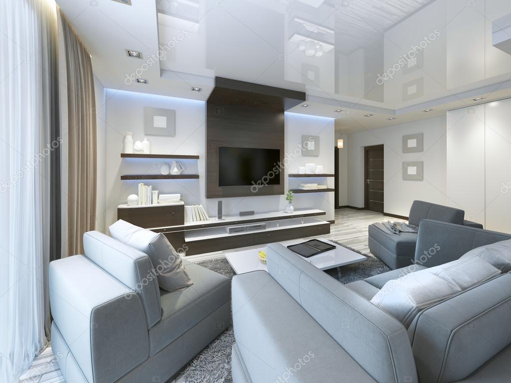 Audiosysteem met Tv en planken in de woonkamer Contemporary ...