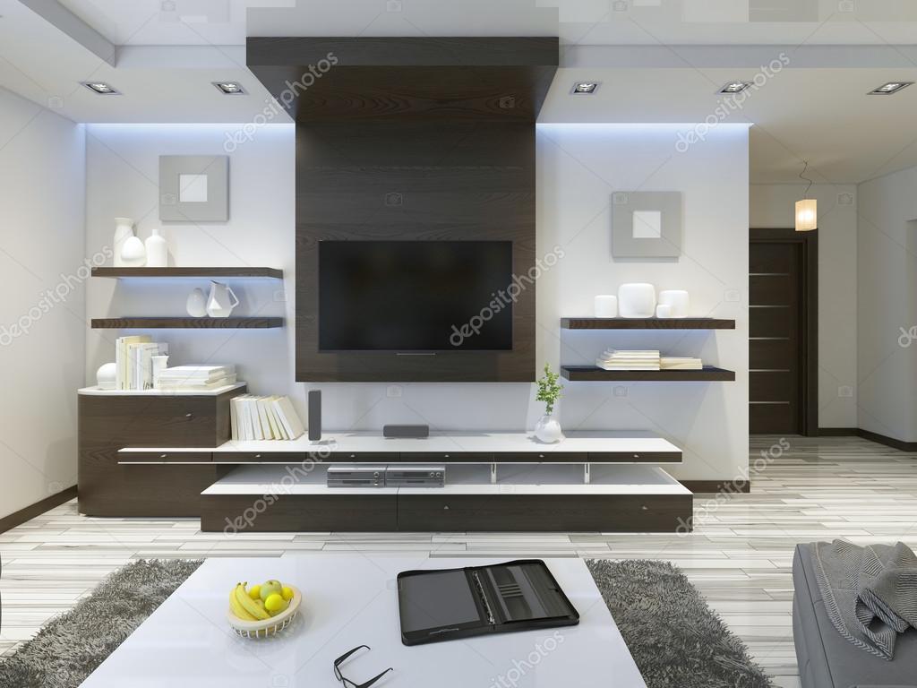 Audio System Mit Tv Und Regale Im Wohnzimmer Modern U2014 Stockfoto