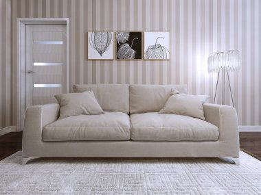 Sofa in a modern style upholstered