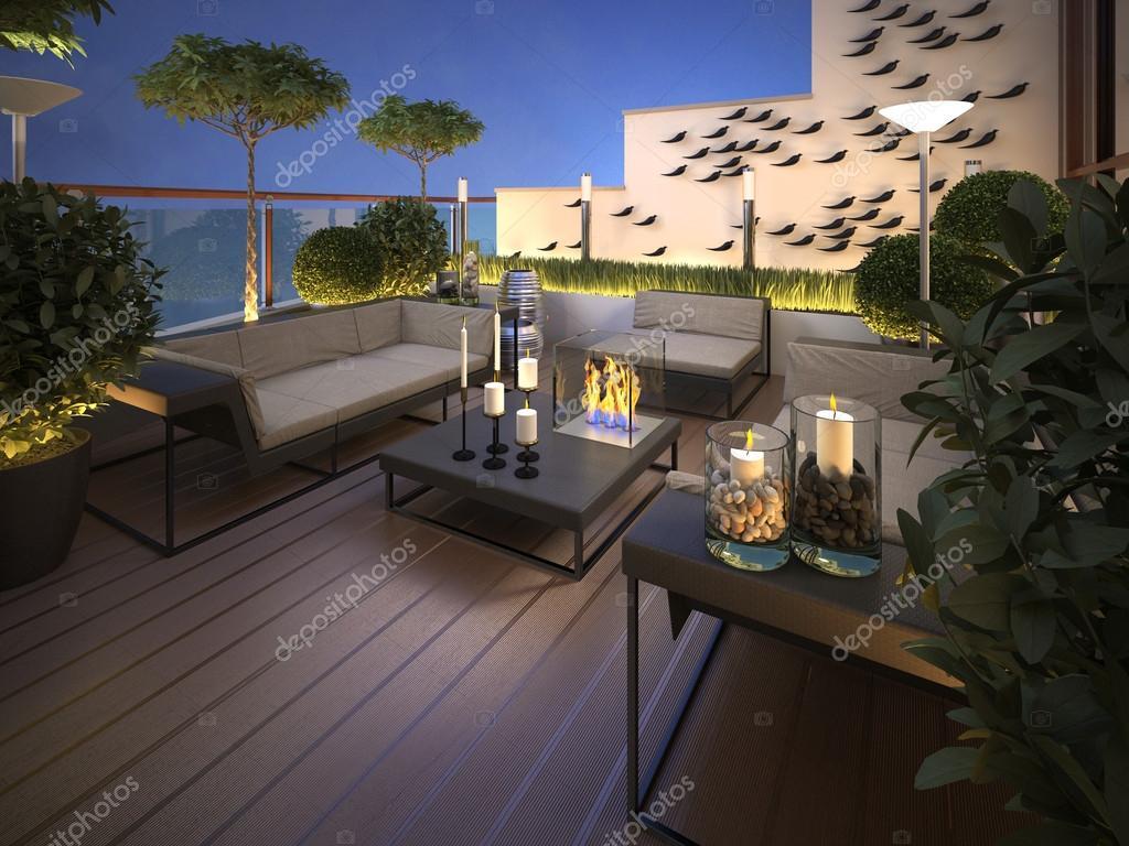 Azotea terraza en un estilo moderno foto de stock for Terrazze arredate