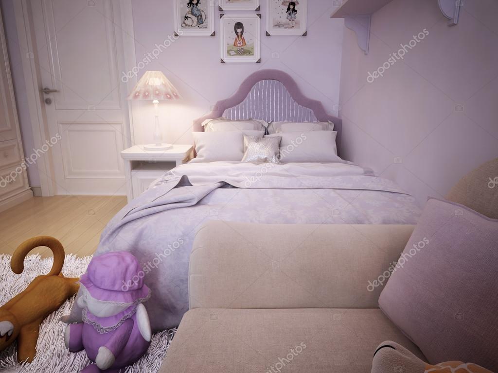 Nachtkastje Kinderkamer Afbeeldingen : Kinderkamer voor meisjes klassieke stijl u stockfoto kuprin