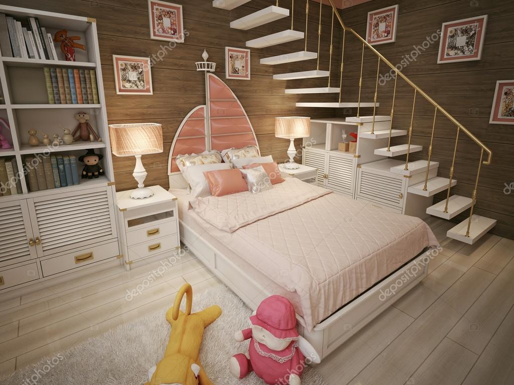 Meisjes slaapkamer mariene stijl u stockfoto kuprin