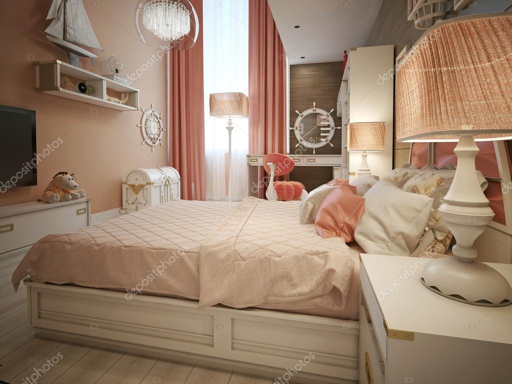 Stile marinaro di ragazze camera da letto — Foto Stock © kuprin33 ...