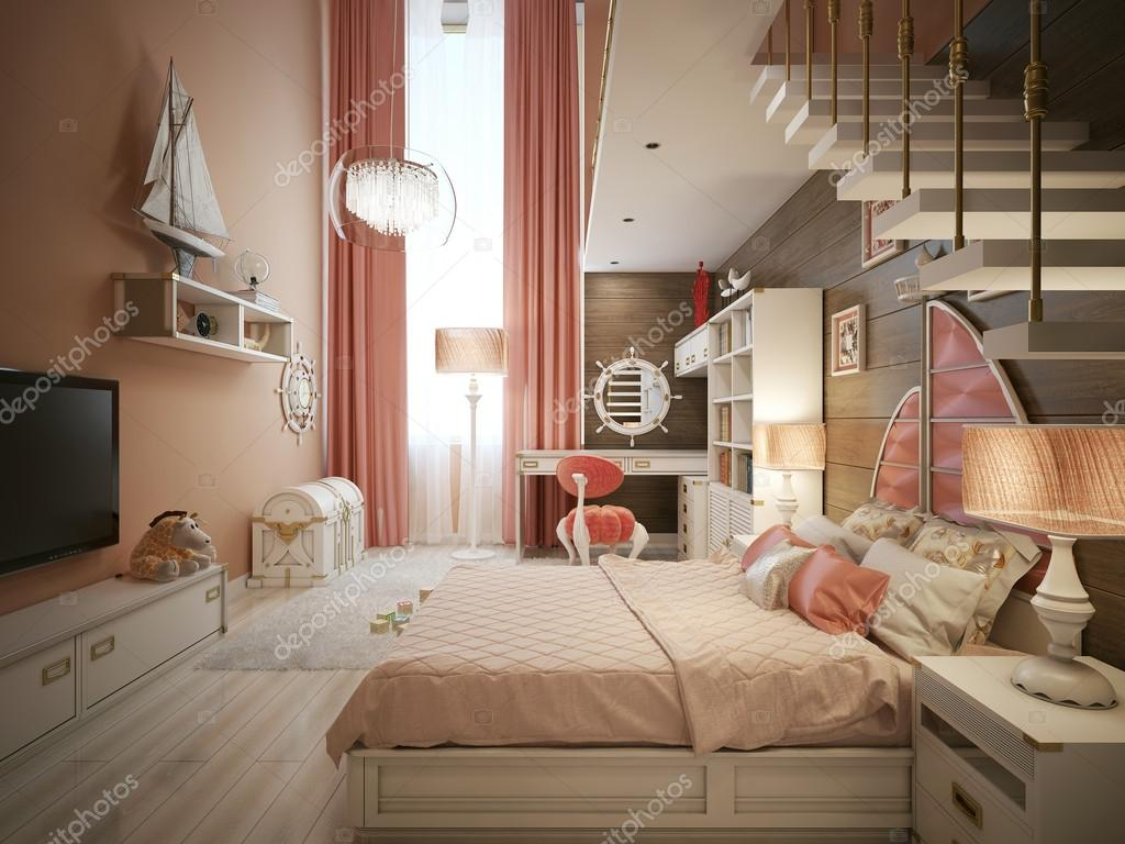 Meisjes slaapkamer in klassieke stijl u stockfoto kuprin