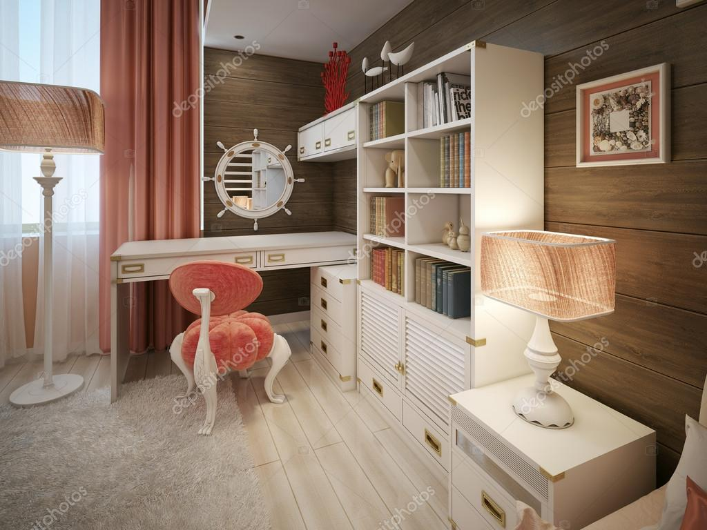 Meisjes slaapkamer moderne stijl u stockfoto kuprin