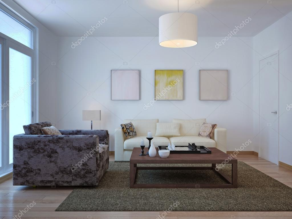 Altmodische Wohnzimmer Gestaltung. 3D Render U2014 Foto Von Kuprin33
