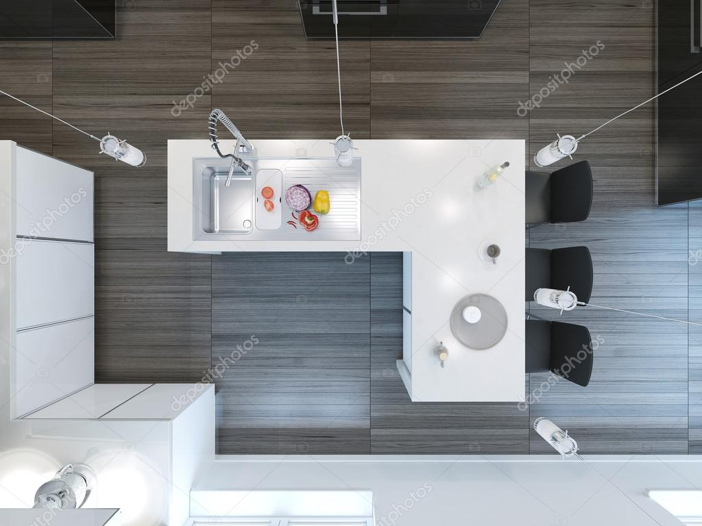 Top view modern kitchen bar — Stock Photo © kuprin33 #77515244