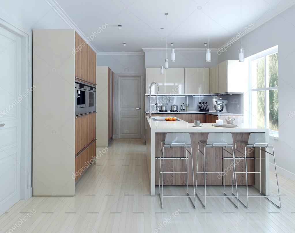Gezellige keuken met bar u2014 stockfoto © kuprin33 #77517124