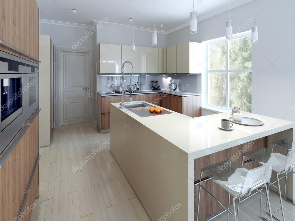 Spaziosa cucina moderna design — Foto Stock © kuprin33 #77517128