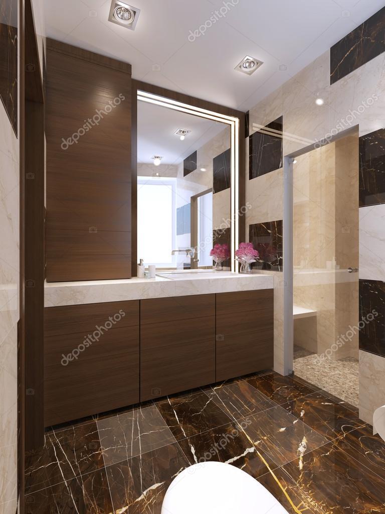 Salle de bain contemporaine avec douche en verre ...
