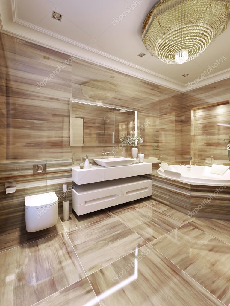 Moderna casa de banho com banheira de hidromassagem for Casa moderna con jacuzzi