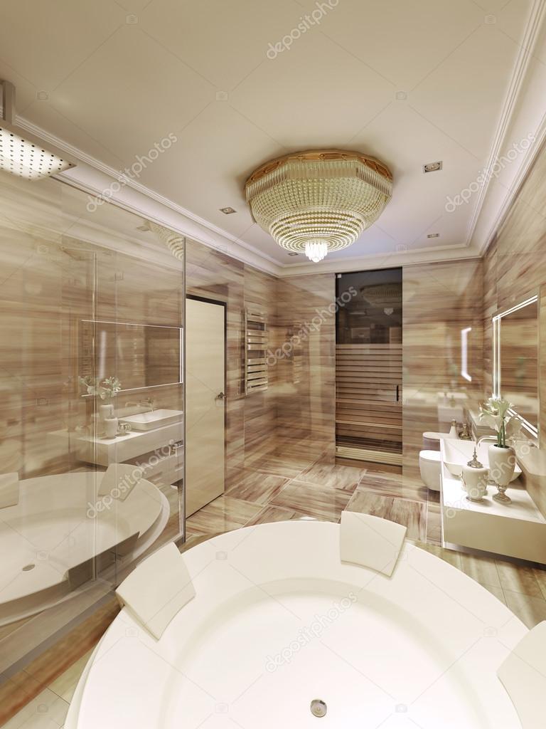 Klassisches Badezimmer Mit Zugang Zur Sauna U2014 Stockfoto #77519908