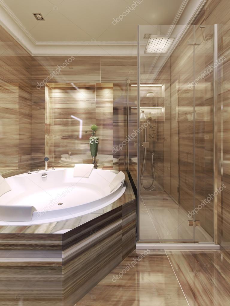 Art déco salle de bain avec douche — Photographie kuprin33 ...