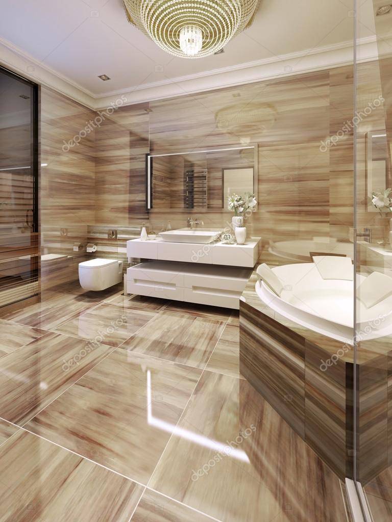Modernes Badezimmer mit Zugang zur sauna — Stockfoto © kuprin33 ...