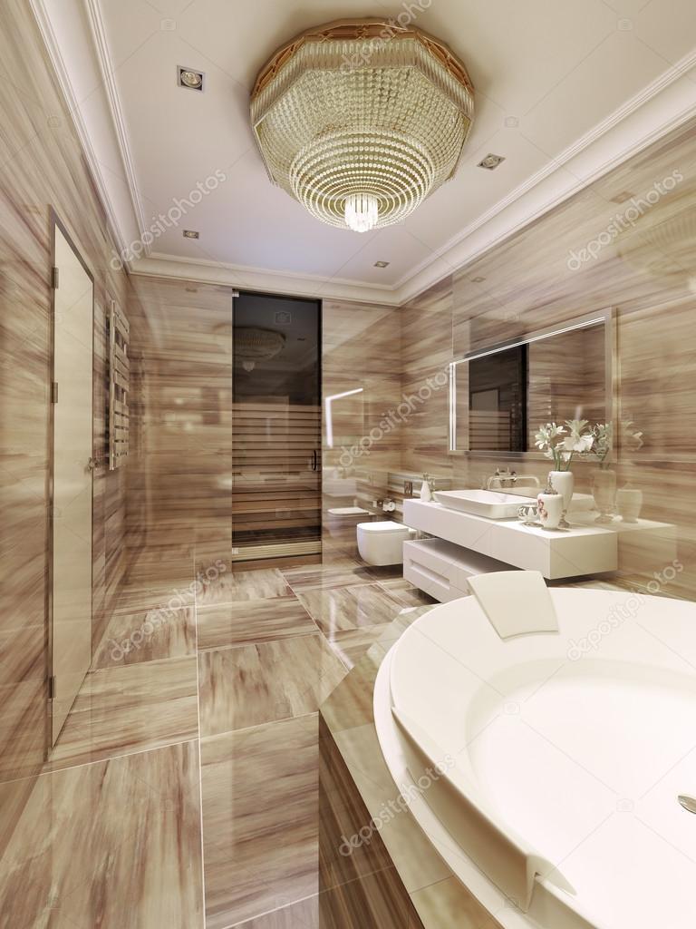 Avant-garde badkamer met sauna — Stockfoto © kuprin33 #77519976