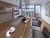 Fotografie Moderne Küche mit Zebrano-Fassade