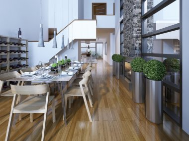 Luxury two-story dining room high-tech style