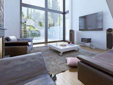 Modern sitting room design. 3D render stock vector
