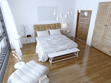 Modern bedroom with brown bed and white wall