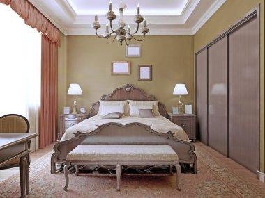 Art deco bedroom with ceiling neon lights