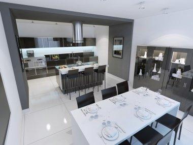 Panoramic view of modern and minimalist kitchen