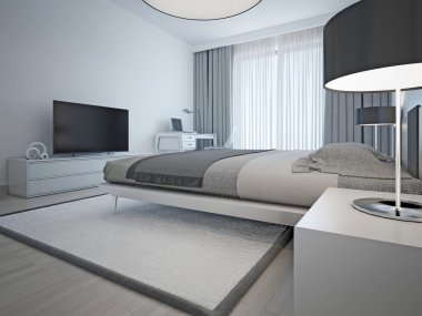 Contemporary monochrome hotel room