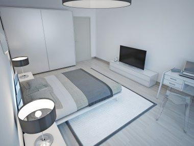 Light grey bedroom minimalist design