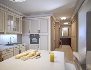 White kitchen art deco style