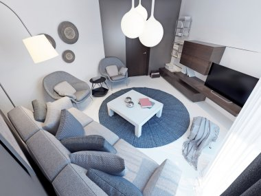Modern living room with concrete flooring